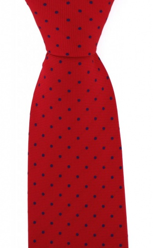 b51b509296aa Red with Small Navy Blue Polka Dots Microfibre Polyester Tie | Ties For Men  - Gents Shop